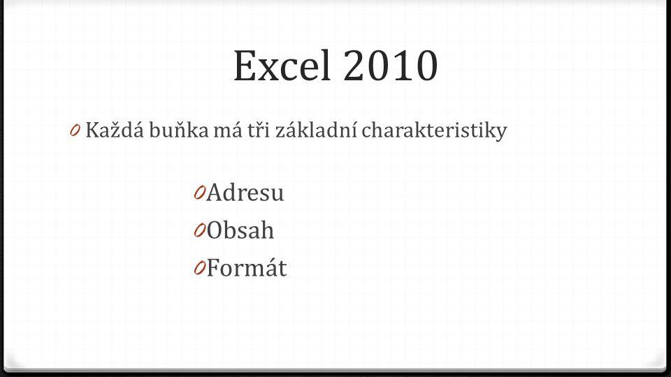 Excel 2010 0 Každá buňka má tři základní charakteristiky 0 Adresu 0 Obsah 0 Formát