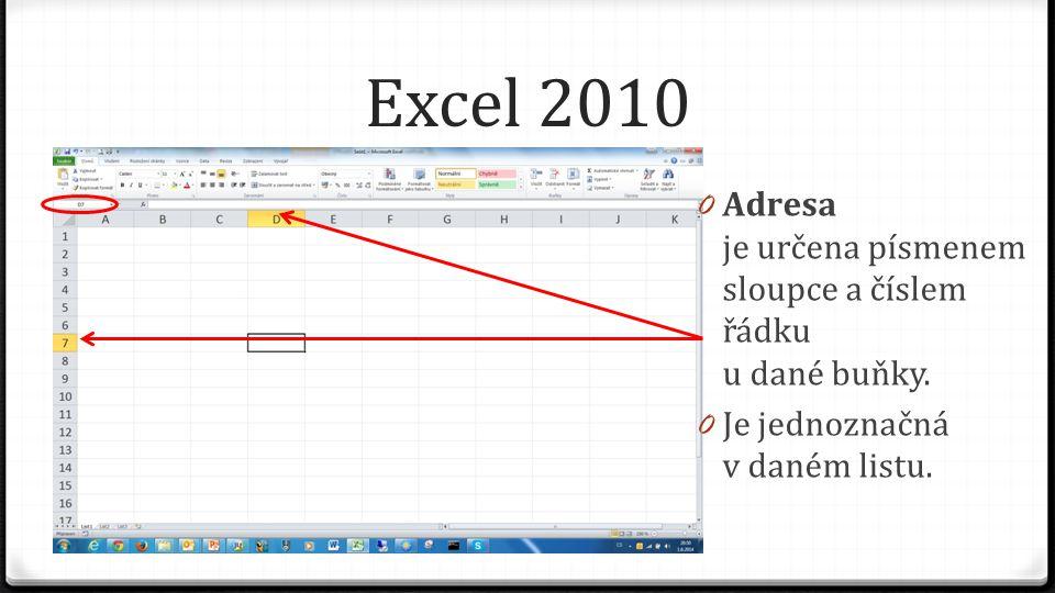 Excel 2010 0 Adresa je určena písmenem sloupce a číslem řádku u dané buňky.