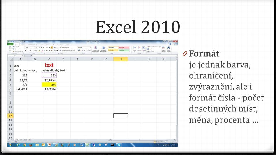 Excel 2010 0 Formát je jednak barva, ohraničení, zvýraznění, ale i formát čísla - počet desetinných míst, měna, procenta …