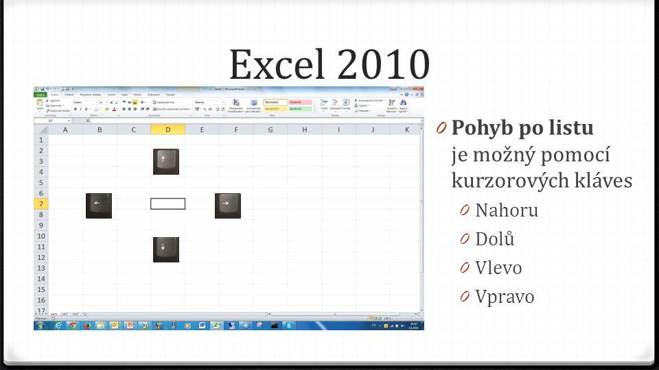 Excel 2010 0 Pohyb po listu je možný pomocí kurzorových kláves 0 Nahoru 0 Dolů 0 Vlevo 0 Vpravo