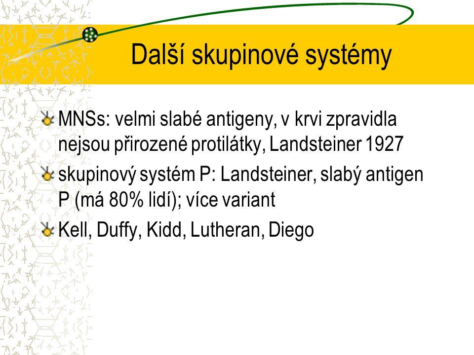 Další skupinové systémy MNSs: velmi slabé antigeny, v krvi zpravidla nejsou přirozené protilátky, Landsteiner 1927 skupinový systém P: Landsteiner, sl