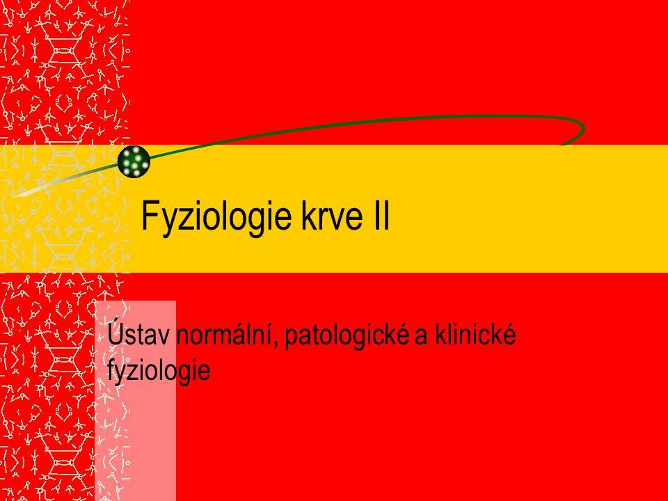 Trombocyty bezjaderné, 2-4  m, doba života 4 dny megakaryocyty (1000-5000 trombocytů) typy trombocytových granulí: 1.denzní granula: neproteinové substance (serotonin, ADP)  -granula: PDGF, koagulační faktory, von Willebrandtův faktor (adheze) 3.lysozomy