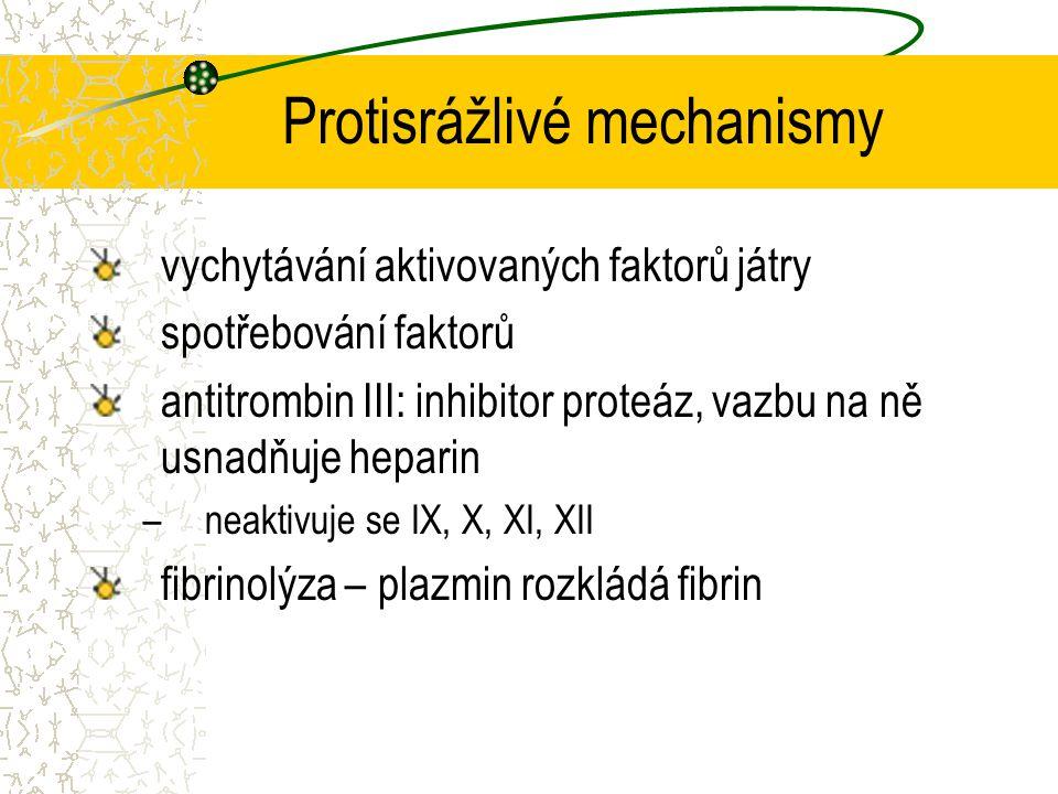 Protisrážlivé mechanismy vychytávání aktivovaných faktorů játry spotřebování faktorů antitrombin III: inhibitor proteáz, vazbu na ně usnadňuje heparin