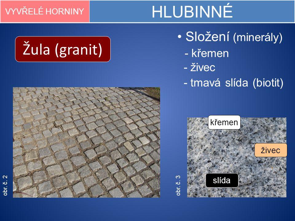 obr. č. 2 Žula (granit) VYVŘELÉ HORNINY HLUBINNÉ obr. č. 3 Složení (minerály) - křemen - živec - tmavá slída (biotit) slída křemen živec