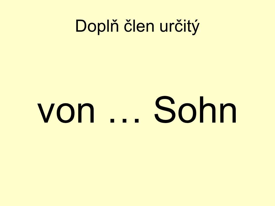 Doplň člen určitý von … Sohn