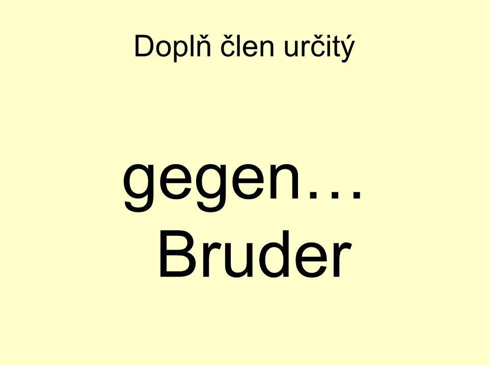 Doplň člen určitý gegen… Bruder