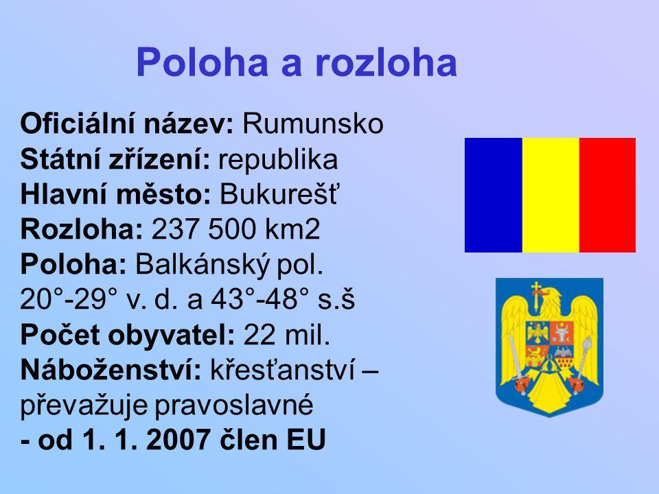 Oficiální název: Rumunsko Státní zřízení: republika Hlavní město: Bukurešť Rozloha: 237 500 km2 Poloha: Balkánský pol. 20°-29° v. d. a 43°-48° s.š Poč