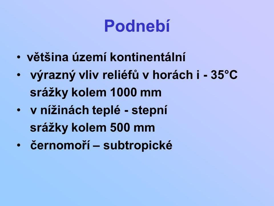 Podnebí většina území kontinentální výrazný vliv reliéfů v horách i - 35°C srážky kolem 1000 mm v nížinách teplé - stepní srážky kolem 500 mm černomoř