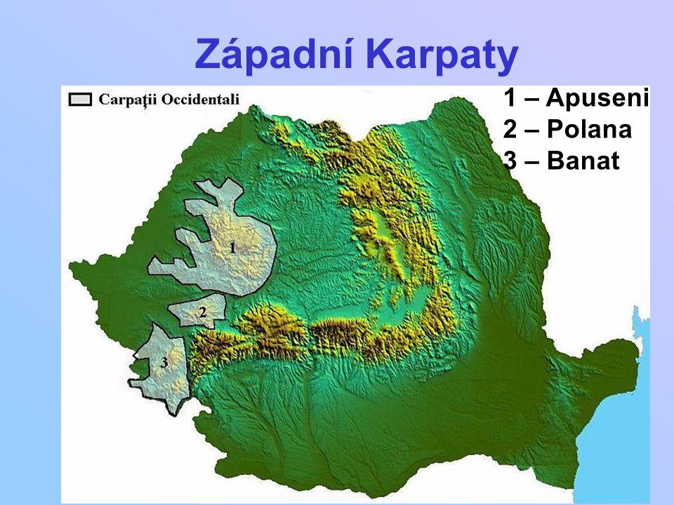 1 – Apuseni 2 – Polana 3 – Banat Západní Karpaty