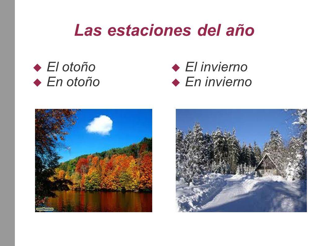 Las estaciones del año  El otoño  En otoño  El invierno  En invierno