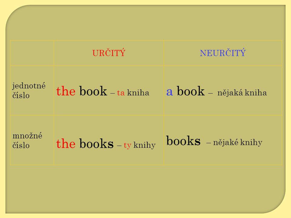 URČITÝNEURČITÝ jednotné číslo the book – ta kniha a book – nějaká kniha množné číslo the book s – ty knihy book s – nějaké knihy