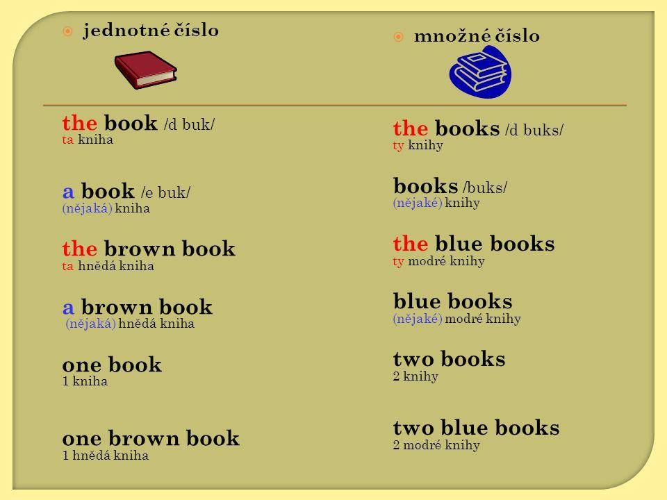  jednotné číslo the book /d buk/ ta kniha a book /e buk/ (nějaká) kniha the brown book ta hnědá kniha a brown book (nějaká) hnědá kniha one book 1 kn