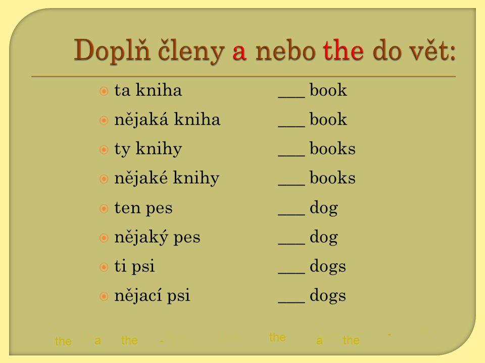  ta kniha  nějaká kniha  ty knihy  nějaké knihy  ten pes  nějaký pes  ti psi  nějací psi ___ book ___ books ___ dog ___ dogs a the - a - a- a