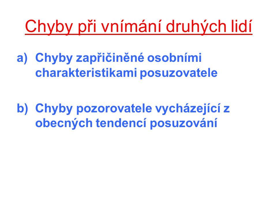 a) Chyby zapřičiněné osobními charakteristikami posuzovatele 1.