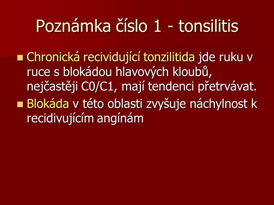 Poznámka číslo 1 - tonsilitis Chronická recividující tonzilitida jde ruku v ruce s blokádou hlavových kloubů, nejčastěji C0/C1, mají tendenci přetrváv