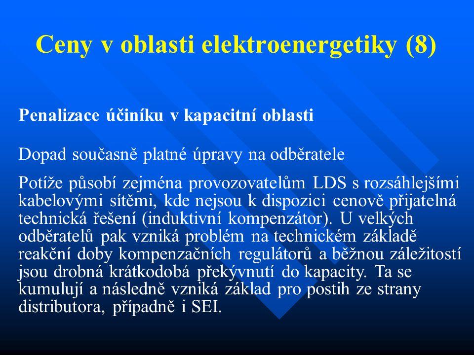 Ceny v oblasti elektroenergetiky (8) Penalizace účiníku v kapacitní oblasti Dopad současně platné úpravy na odběratele Potíže působí zejména provozova