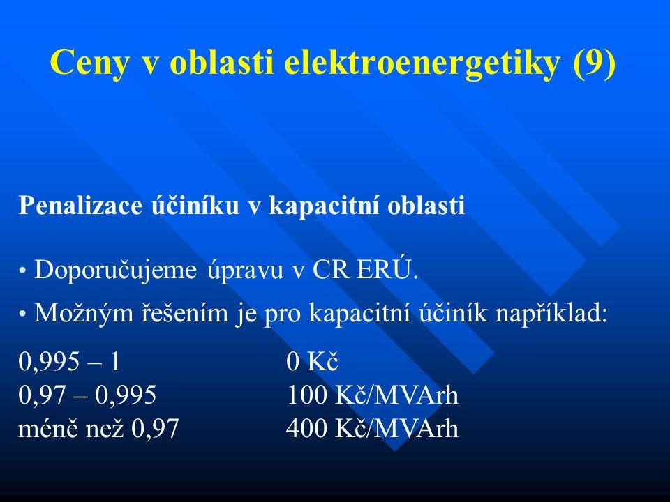 Ceny v oblasti elektroenergetiky (9) Penalizace účiníku v kapacitní oblasti Doporučujeme úpravu v CR ERÚ. Možným řešením je pro kapacitní účiník napří