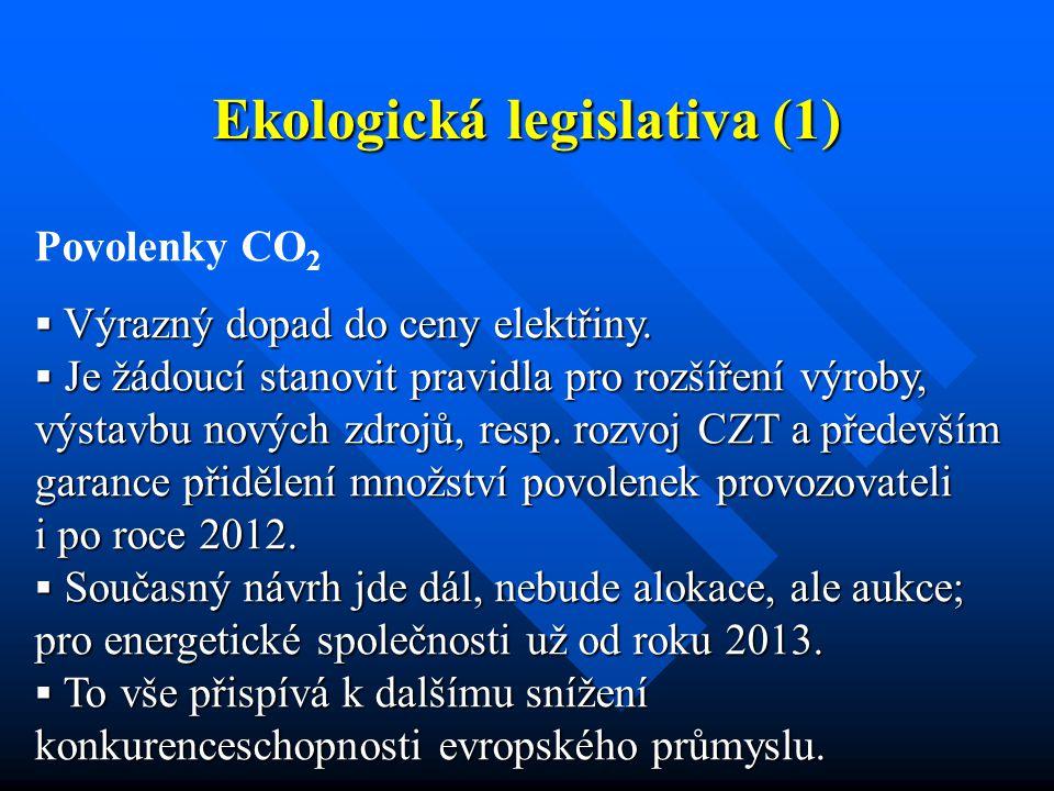Ekologická legislativa (1) Povolenky CO 2  Výrazný dopad do ceny elektřiny.  Je žádoucí stanovit pravidla pro rozšíření výroby, výstavbu nových zdro