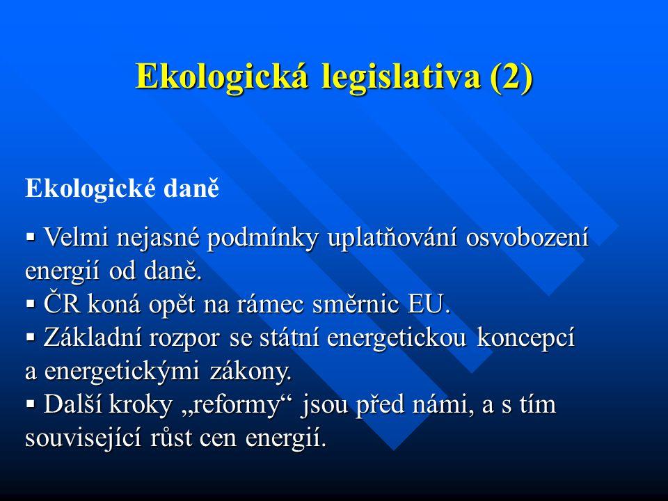 Ekologická legislativa (2) Ekologické daně  Velmi nejasné podmínky uplatňování osvobození energií od daně.  ČR koná opět na rámec směrnic EU.  Zákl