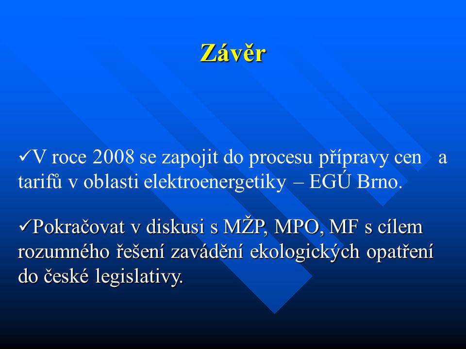 Závěr V roce 2008 se zapojit do procesu přípravy cen a tarifů v oblasti elektroenergetiky – EGÚ Brno. Pokračovat v diskusi s MŽP, MPO, MF s cílem rozu