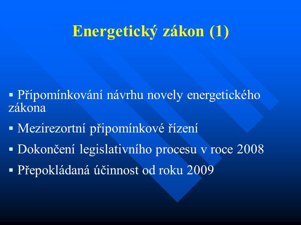 Energetický zákon (1)  Připomínkování návrhu novely energetického zákona  Mezirezortní připomínkové řízení  Dokončení legislativního procesu v roce 2008  Přepokládaná účinnost od roku 2009
