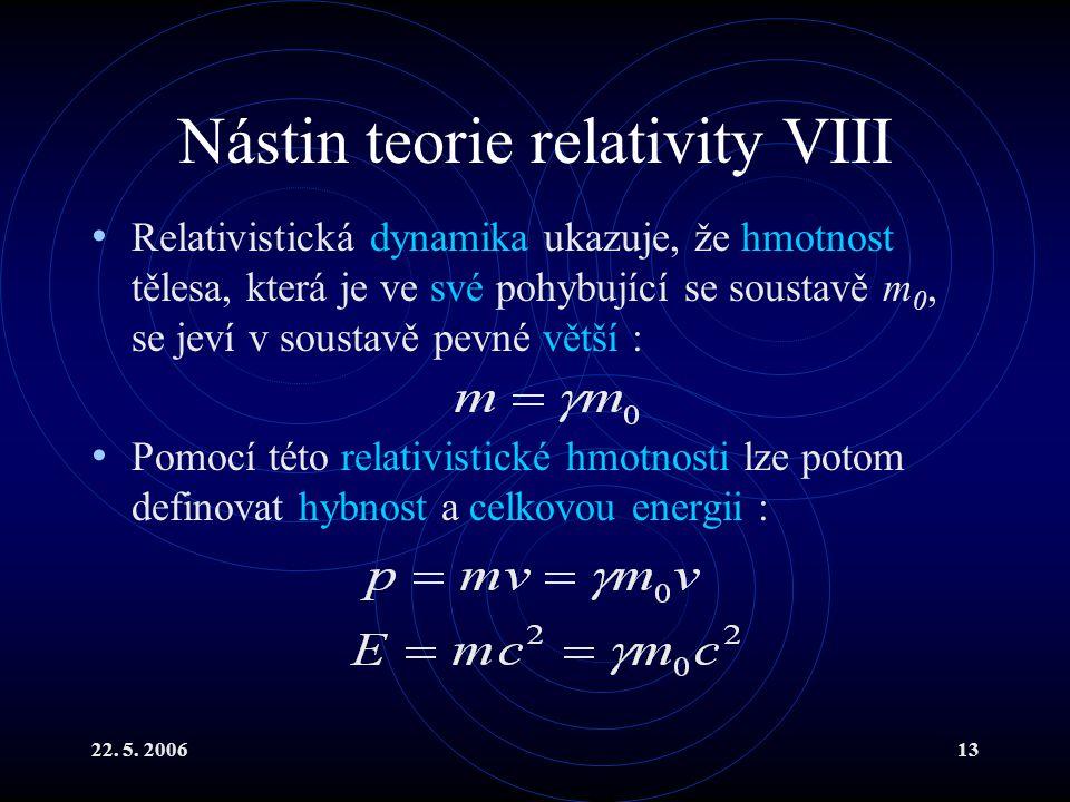22. 5. 200613 Nástin teorie relativity VIII Relativistická dynamika ukazuje, že hmotnost tělesa, která je ve své pohybující se soustavě m 0, se jeví v