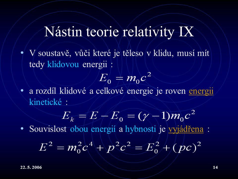 22. 5. 200614 Nástin teorie relativity IX V soustavě, vůči které je těleso v klidu, musí mít tedy klidovou energii : a rozdíl klidové a celkové energi