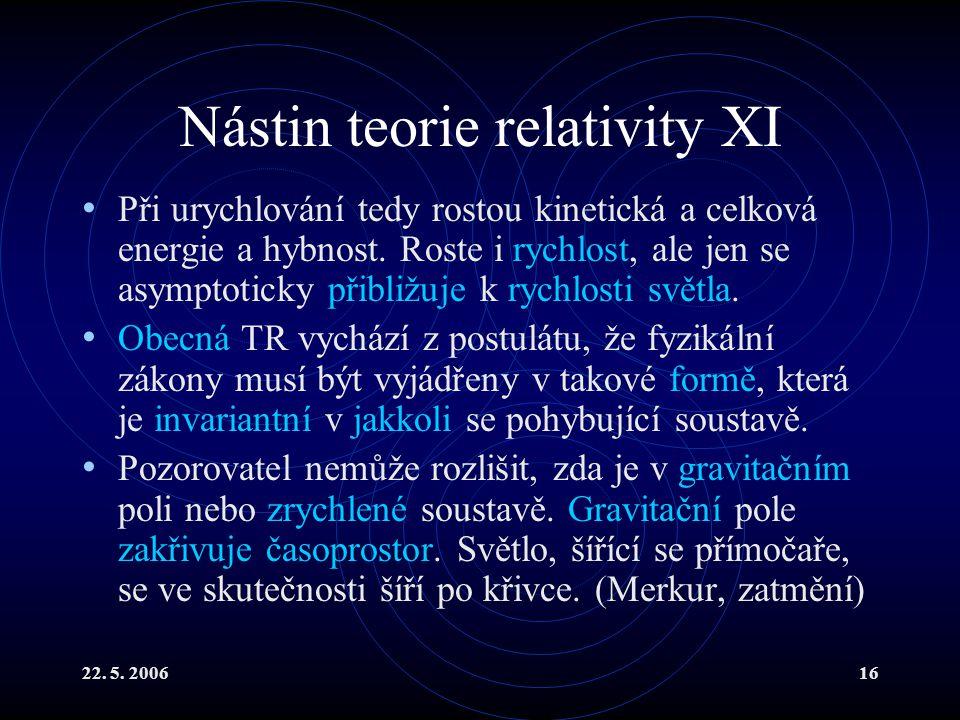 22. 5. 200616 Nástin teorie relativity XI Při urychlování tedy rostou kinetická a celková energie a hybnost. Roste i rychlost, ale jen se asymptoticky