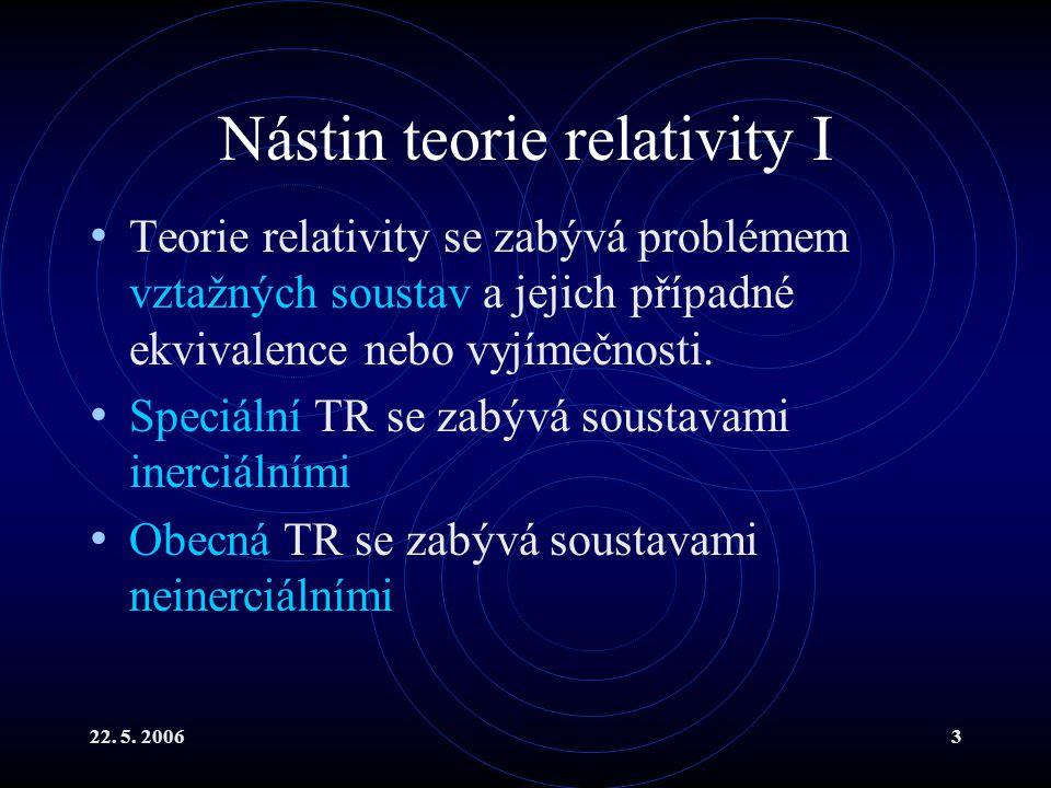 22. 5. 20063 Nástin teorie relativity I Teorie relativity se zabývá problémem vztažných soustav a jejich případné ekvivalence nebo vyjímečnosti. Speci