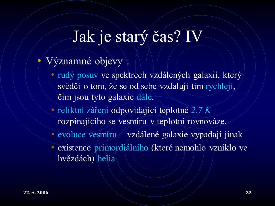 22. 5. 200633 Jak je starý čas? IV Významné objevy : rudý posuv ve spektrech vzdálených galaxií, který svědčí o tom, že se od sebe vzdalují tím rychle