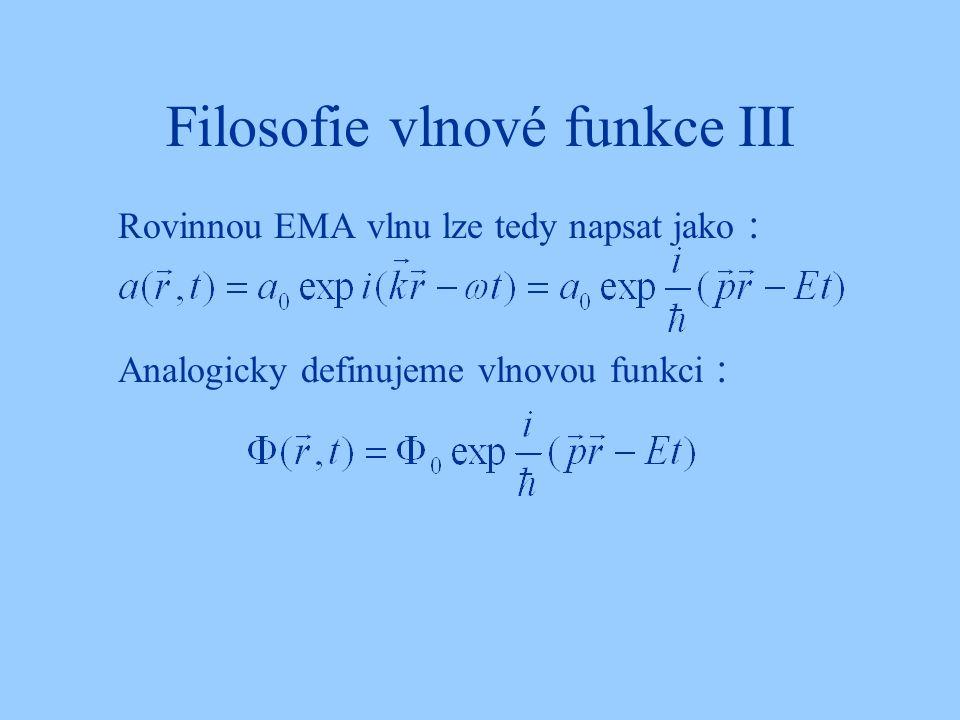 Filosofie vlnové funkce III Rovinnou EMA vlnu lze tedy napsat jako : Analogicky definujeme vlnovou funkci :
