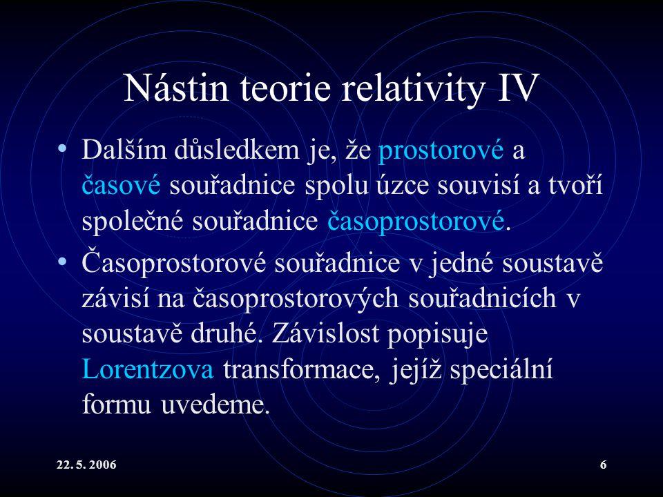 22. 5. 20066 Nástin teorie relativity IV Dalším důsledkem je, že prostorové a časové souřadnice spolu úzce souvisí a tvoří společné souřadnice časopro