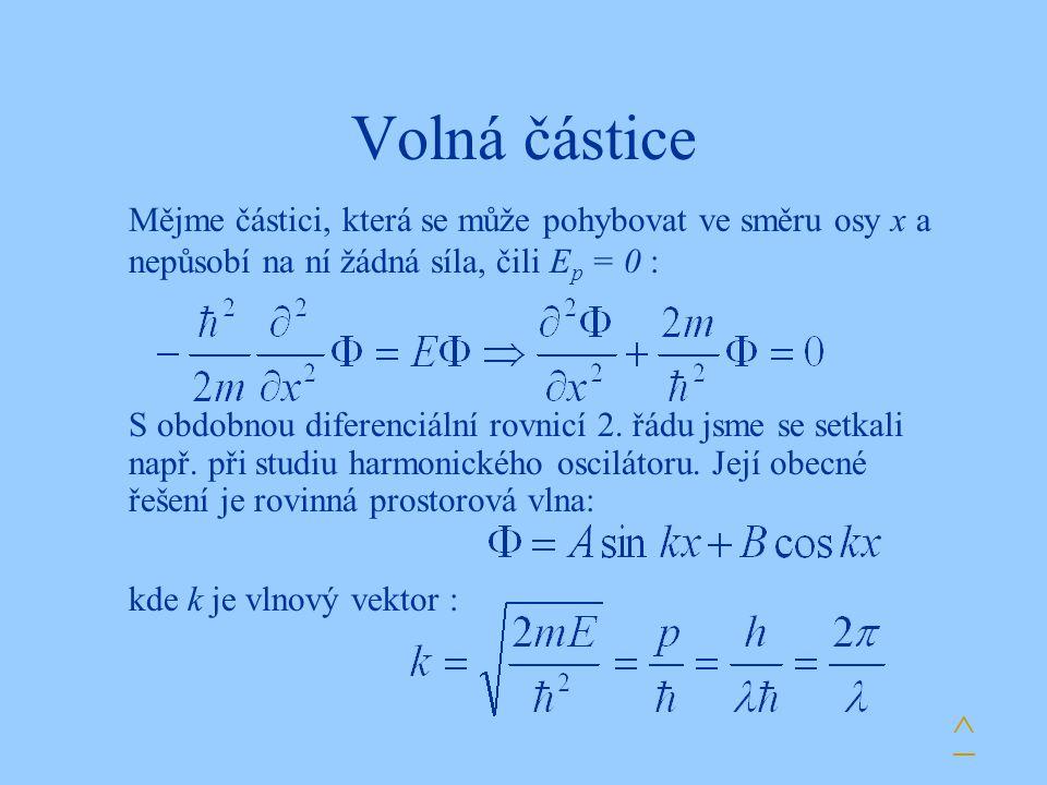 Volná částice S obdobnou diferenciální rovnicí 2. řádu jsme se setkali např. při studiu harmonického oscilátoru. Její obecné řešení je rovinná prostor