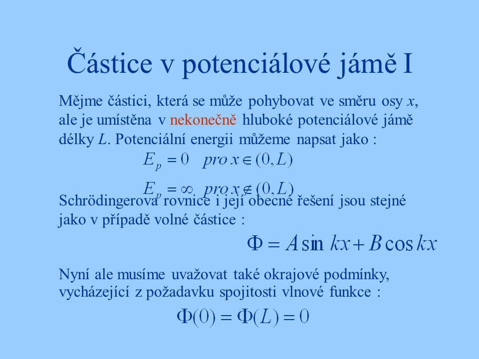 Částice v potenciálové jámě I Schrödingerova rovnice i její obecné řešení jsou stejné jako v případě volné částice : Mějme částici, která se může pohy