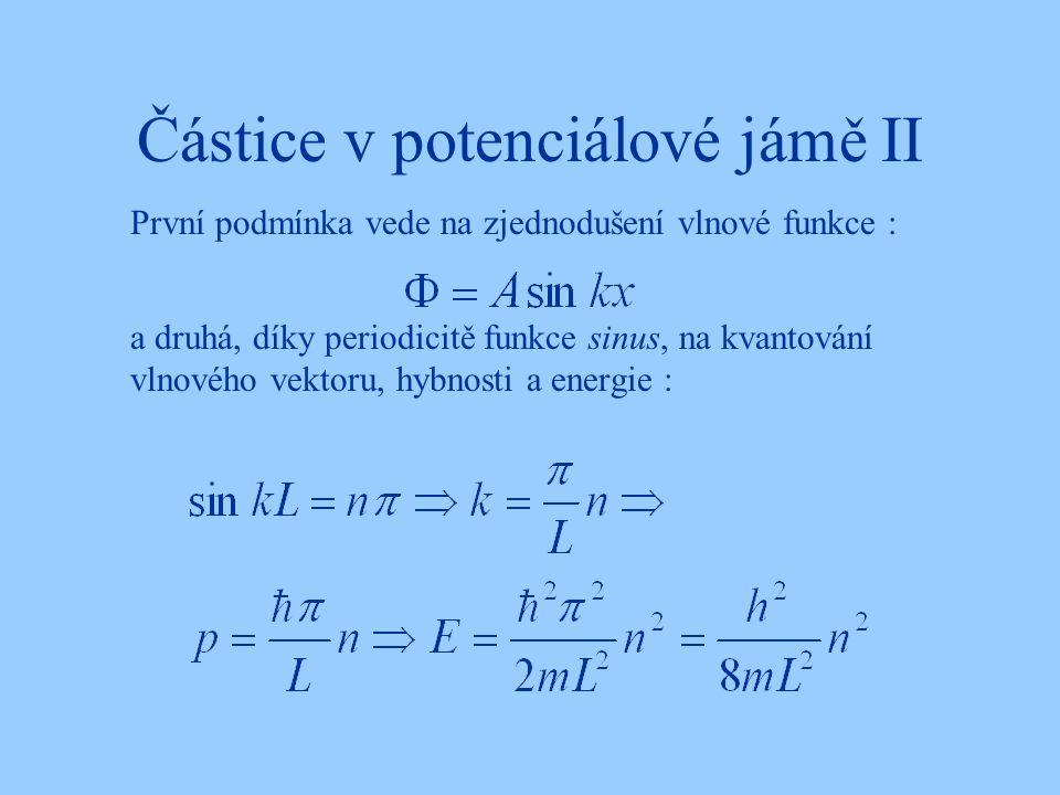 Částice v potenciálové jámě II a druhá, díky periodicitě funkce sinus, na kvantování vlnového vektoru, hybnosti a energie : První podmínka vede na zje