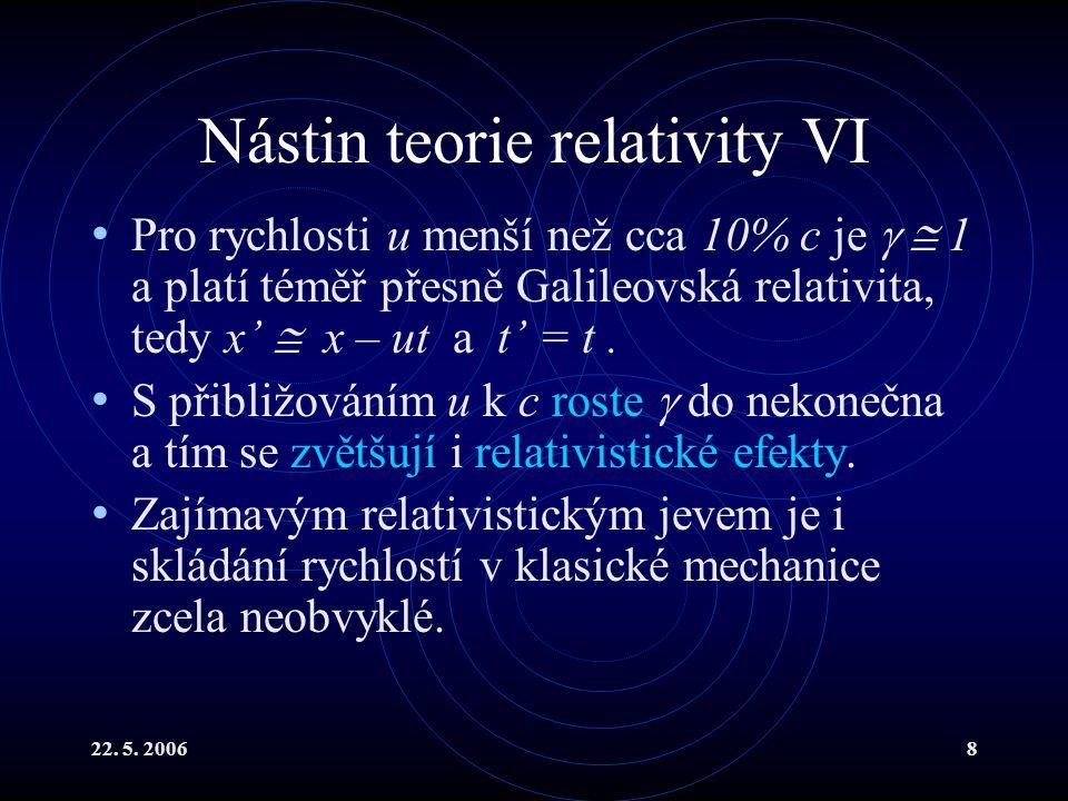 22. 5. 20068 Nástin teorie relativity VI Pro rychlosti u menší než cca 10% c je   1 a platí téměř přesně Galileovská relativita, tedy x'  x – ut a