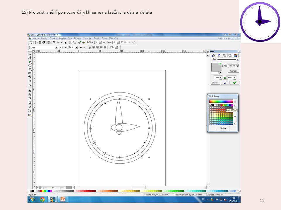 15) Pro odstranění pomocné čáry klineme na kružnici a dáme delete 11