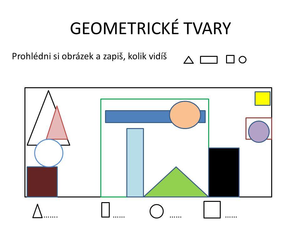 Pracovní list – základní geometrické tvary 1)Přiřaď k obrázkům správný název trojúhelník kruh čtverec obdélník 2) Vybarvi: červeně, modře, žlutě, zeleně 3) Napiš, které běžné věci kolem nás připomínají geometrické tvary ČTVEREC TROJÚHELNÍK OBDÉLNÍKKRUH