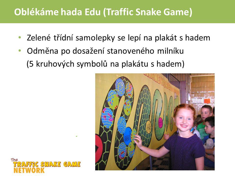 Oblékáme hada Edu (Traffic Snake Game) Zelené třídní samolepky se lepí na plakát s hadem Odměna po dosažení stanoveného milníku (5 kruhových symbolů n