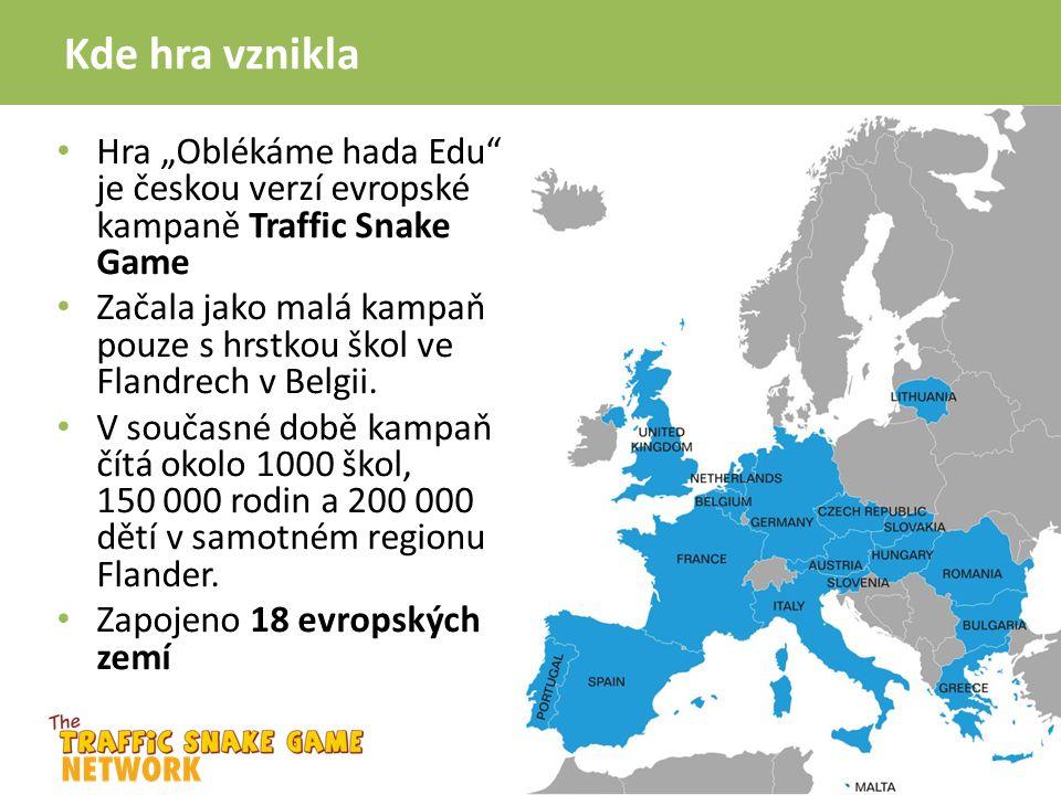 """Kde hra vznikla Hra """"Oblékáme hada Edu"""" je českou verzí evropské kampaně Traffic Snake Game Začala jako malá kampaň pouze s hrstkou škol ve Flandrech"""