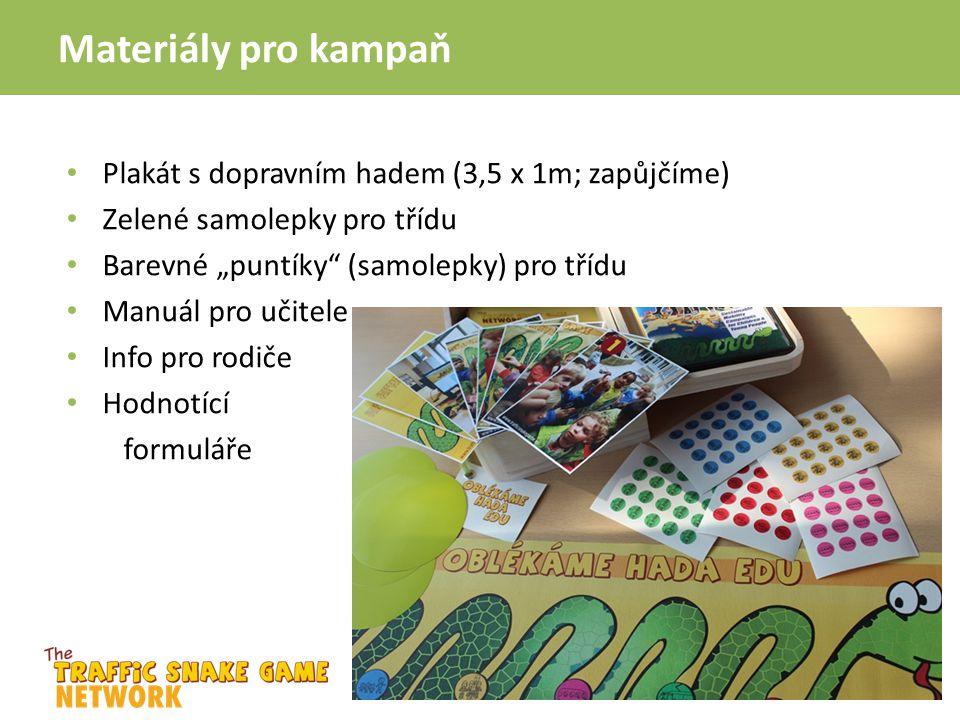 """Materiály pro kampaň Plakát s dopravním hadem (3,5 x 1m; zapůjčíme) Zelené samolepky pro třídu Barevné """"puntíky"""" (samolepky) pro třídu Manuál pro učit"""