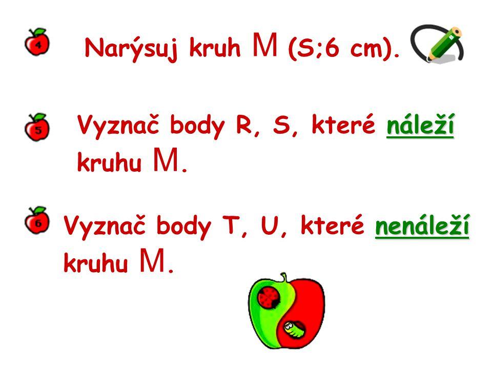Narýsuj kruh M (S;6 cm).náleží Vyznač body R, S, které náleží kruhu M.
