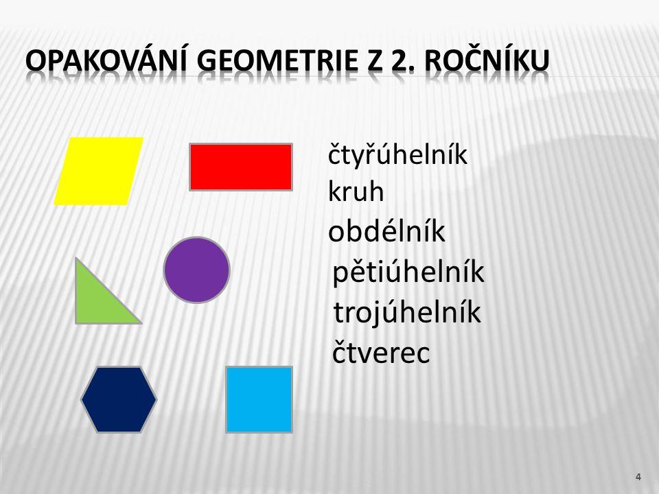 čtyřúhelník kruh obdélník pětiúhelník trojúhelník čtverec 4