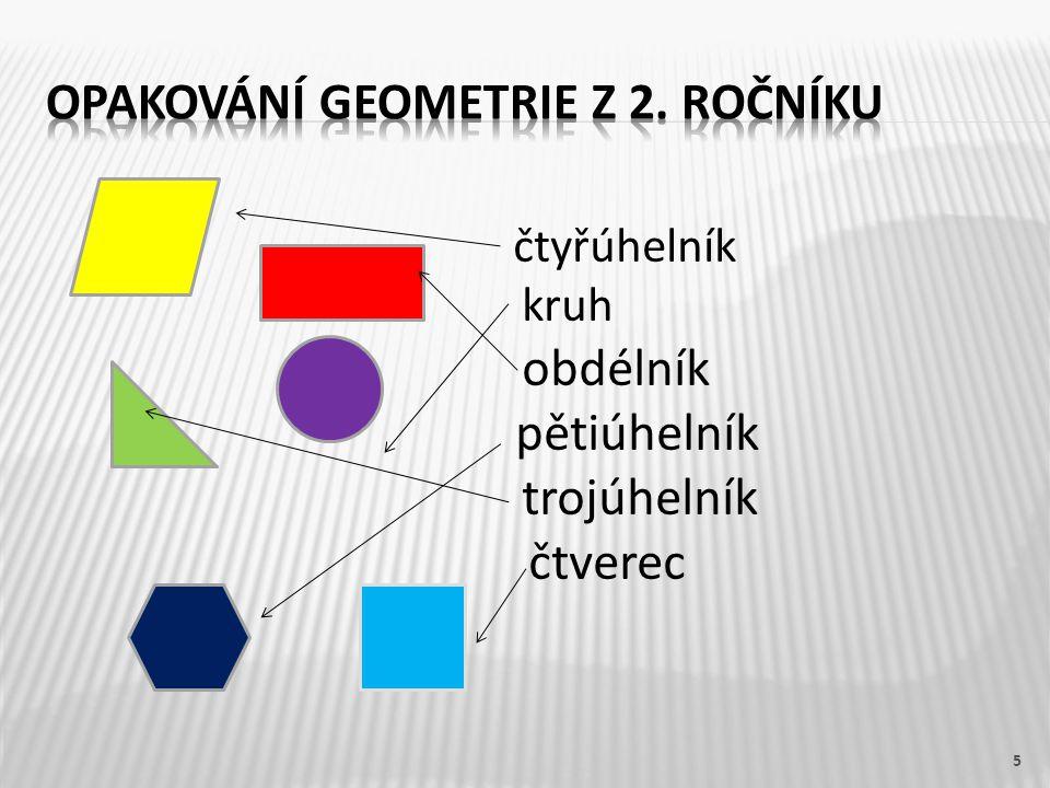 5 čtyřúhelník kruh obdélník pětiúhelník trojúhelník čtverec