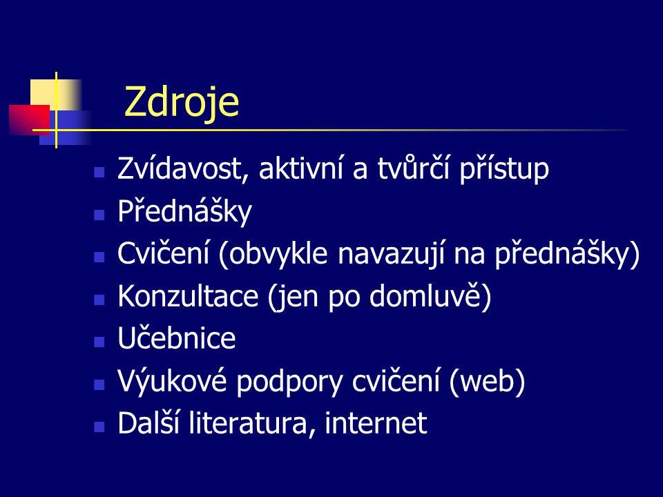 Zdroje Zvídavost, aktivní a tvůrčí přístup Přednášky Cvičení (obvykle navazují na přednášky) Konzultace (jen po domluvě) Učebnice Výukové podpory cvičení (web) Další literatura, internet