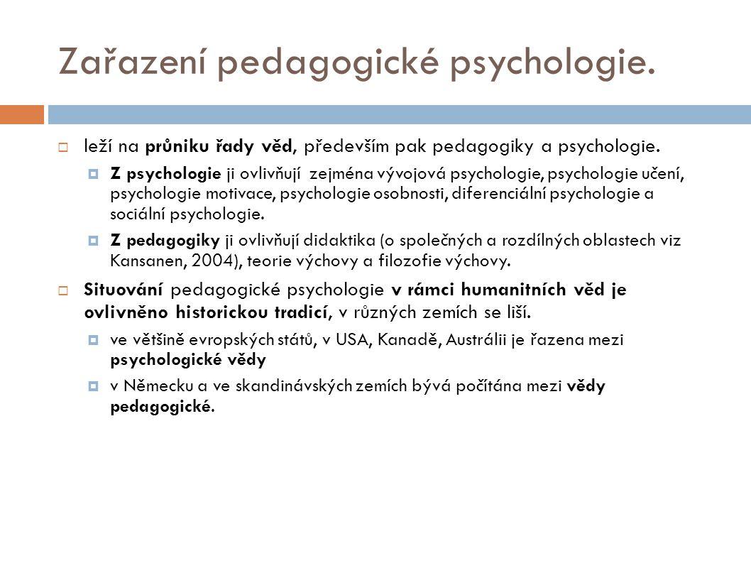Zařazení pedagogické psychologie.  leží na průniku řady věd, především pak pedagogiky a psychologie.  Z psychologie ji ovlivňují zejména vývojová ps