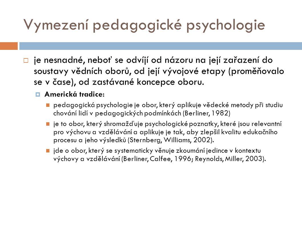 Vymezení pedagogické psychologie  je nesnadné, neboť se odvíjí od názoru na její zařazení do soustavy vědních oborů, od její vývojové etapy (proměňov