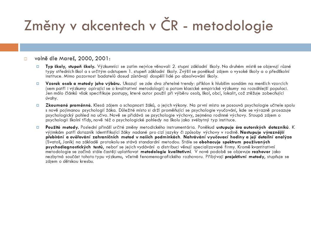 Změny v akcentech v ČR - metodologie  volně dle Mareš, 2000, 2001:  Typ školy, stupeň školy. Výzkumníci se zatím nejvíce věnovali 2. stupni základní