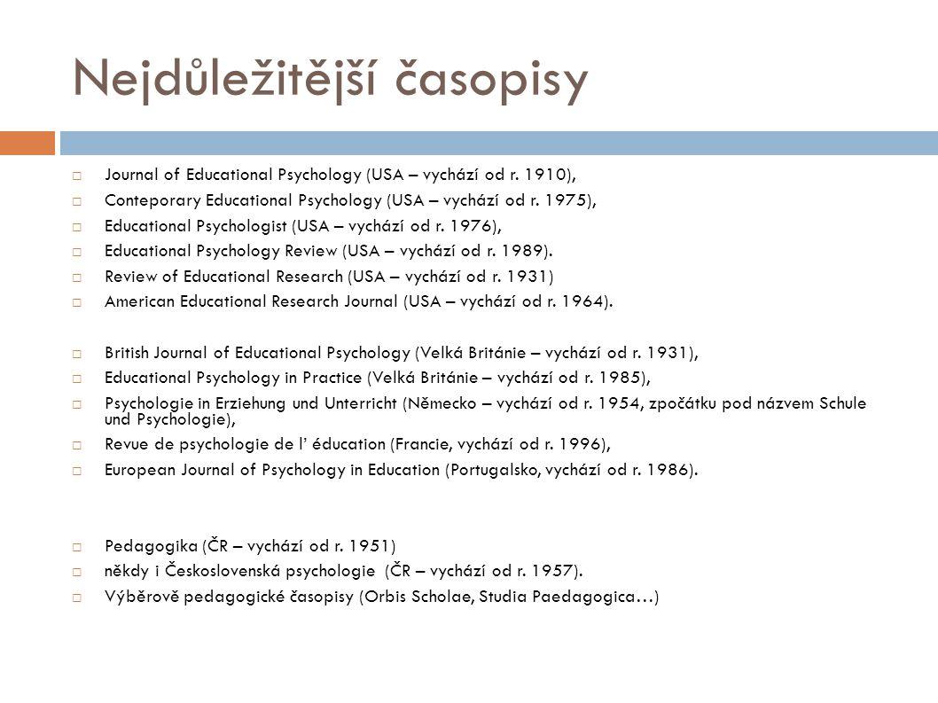 Nejdůležitější časopisy  Journal of Educational Psychology (USA – vychází od r. 1910),  Conteporary Educational Psychology (USA – vychází od r. 1975