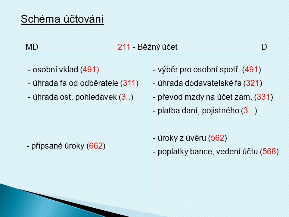 Schéma účtování - osobní vklad (491) - úhrada fa od odběratele (311) - úhrada ost.
